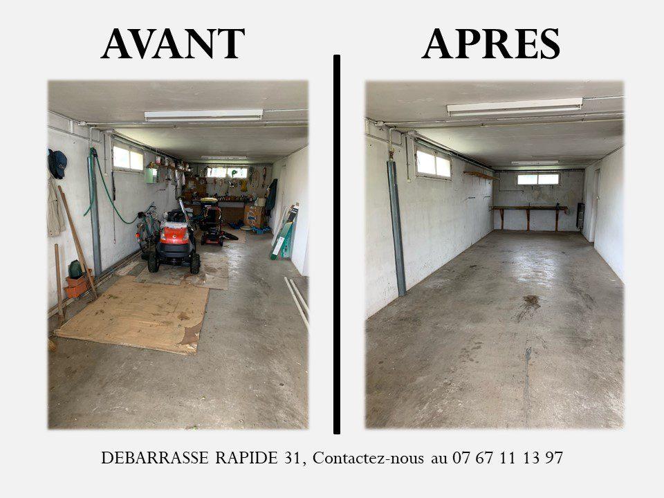 Garage plein puis garage vide une fois l'intervention de la société débarrasse rapide 31.